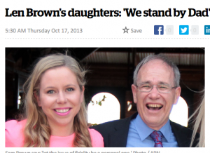 """Len Brown's daughters: """"We stand by Dad""""."""
